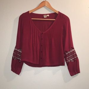 Roxy Boho Button-up Cranberry Shirt XS